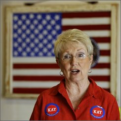 Democrat Kay Barnes talks to supporters during a campaign stop in Kearney, Mo., Saturday, Sept. 20, 2008, as she runs for Missouri's 6th district. (AP Photo/Charlie Riedel)