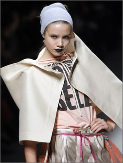 A model wears a creation by British fashion designer Vivienne Westwood  during her spring-summer 2009 ready-to-wear collection presented in Paris, Monday, Sept. 29, 2008. (AP Photo/Christophe Ena)