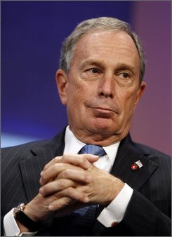 In this Thursday, Sept 25, 2008 file photo, New York Mayor Michael Bloomberg participates in a panel discussion at the Clinton Global Initiative annual meeting in New York. Bloomberg has decided to try to reverse the term-limits law he had long supported so he can seek a third term next year and help the city emerge from financial turmoil, a person close to the mayor told The Associated Press on Tuesday, Sept. 30, 2008. (AP Photo/Jason DeCrow)