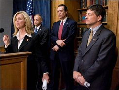 Chairman of of  Republican Study Group Rep. Jeb Hensarling, R-Texas, right, watches Rep. Marsha Blackburn, R-Tenn., left, speak during a news conference on Capitol Hill Monday, Sept. 29, 2008, in Washington. With Hensarling are Rep. Trent Franks, R-Ariz., second from right, and Steve King, R-Iowa.  (AP Photo/Manuel Balce Ceneta)
