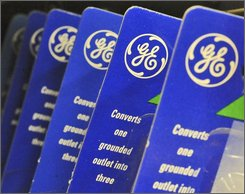 In this April 11, 2008 file photo, a General Electric Co. logo appears on outlet converter packaging at a grocery store in Danvers, Mass. Warren Buffett's Berkshire Hathaway Inc. on Wednesday, Oct. 1, 2008 said it is investing $3 billion in General Electric Co., a huge vote of confidence for an iconic American company battered by the credit crisis.  (AP Photo/Lisa Poole, file)