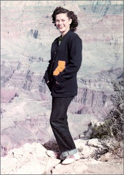 "Boulder historian Silvia Pettem released this photo on Tuesday, Sept.30, 2008, of Katharine E Farrand Dyer believed to have been taken at the Grand Canyon in 1949. Pettem is working with the Boulder Colorado Sheriff's Department in identifying the body of a ""Jane Doe"" found near a Boulder creek in 1954. It is believed that Katharine E Farrand Dyer could be ""Jane Doe.""  Dyer's marriage certificate say she was born in San Antonio, Texas. Anyone with information is asked to contact the Boulder Colorado Sheriff's Department. (AP Photo/Silvia Pettem)"