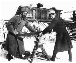 Czar Nicholas II, left, and his son Alexei Nikolaievich are shown in this undated file photo sawing wood to heat the Siberian prison camp, where they were held during the Russian Revolution. News agencies say, Wednesday, Oct. 1, 2008, the Russian Supreme Court appeals panel has declared the murdered last czar and his family to be victims of political repression, ninety years after he was executed   (AP Photo/Files)