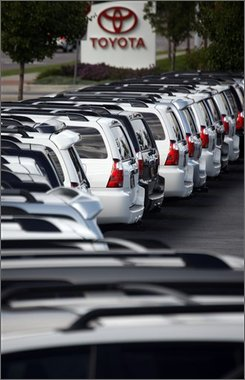 Unsold 2008 4Runners sit at a Toyota dealership in the west Denver suburb of Lakewood, Colo., on Sunday, Sept. 28, 2008. Toyota Motor Sales U.S.A. Inc. said September U.S. sales fell 32 percent with truck and sport utility models continuing to lose favor as high gas prices and concerns about the economy led consumers to crimp on spending. (AP Photo/David Zalubowski)
