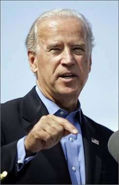 Democratic vice presidential candidate Sen. Joe Biden, D-Del., speaks at a rally in front of the Detroit Public Library in Detroit, Mich. Sunday, Sept. 28, 2008.(AP Photo/Alex Brandon)