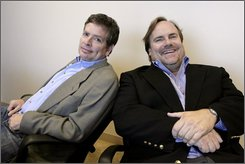 "Director David Zucker, left, and actor Kevin Farley from the film, ""An American Carol,"" pose for a photograph Thursday, Sept. 25, 2008, in Los Angeles. (AP Photo/Ric Francis)"