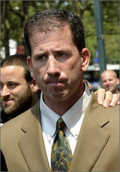 "In this July 29, 2008 file photo, former NBA referee Tim Donaghy exits Brooklyn federal court following his sentencing in New York.  A review of the NBA's officiating program found no evidence of illegal activity by any referee other than Donaghy, though it recommended significant changes for monitoring gambling and game integrity. The report, compiled over 14 months by former federal prosecutor Lawrence Pedowitz and released Thursday Oct. 2, 2008, called for the creation of a ""culture of compliance"" and closer monitoring of games for suspicious activity. (AP Photo/ Louis Lanzano, File)"