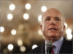Republican presidential candidate, Sen. John McCain, R-Ariz., participates in a women's town hall style campaign event in Denver, Thursday, Oct. 2, 2008. (AP Photo/Gerald Herbert)