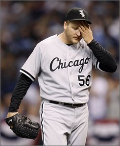 Chicago White Sox pitcher Javier Vazquez reacts after Tampa Bay Rays'Evan Longoria hit solo home run during third-inning baseball action in Game 1 of American League division series in St. Petersburg, Fla., Thursday Oct. 2, 2008. (AP Photo/Chris O'Meara)