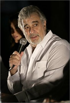 Spain's singer Placido Domingo speaks during a press conference in Chichen Itza, Mexico, Thursday, Oct. 2, 2008.  Domingo will perform in concert on Oct. 4 at the Mayan ruins. (AP Photo/Israel Leal)