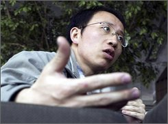 In this March 31, 2006 file photo, Chinese AIDS activist Hu Jia speaks during an interview at a cafe in Beijing. Peace researcher Stein Toennesson, whose picks tend to shape world speculation, was leaning toward Chinese dissidents Gao Zhisheng and Hu Jia, both arrested and jailed through the Beijing Olympics to keep them out of the public eye. (AP Photo/Ng Han Guan, File)