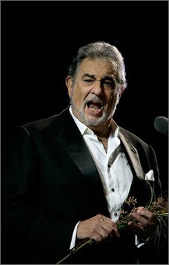 Tenor Placido Domingo performs in concert at the Mayan ruins of Chichen Itza in the Yucatan peninsula in Mexico, Saturday, Oct. 4, 2008. Spanish-born Domingo grew up in Mexico and one of his first performances was in Yucatan in 1957. (AP Photo/Israel Leal)