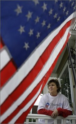 Sue Nace is photographed at her home in Red Lion, Pa., Wednesday, Oct. 1, 2008. What to wear on Election Day could become a serious question for Pennsylvania voters as a state court considers whether to ban campaign buttons, T-shirts and other apparel from polling places. (AP Photo/Carolyn Kaster)