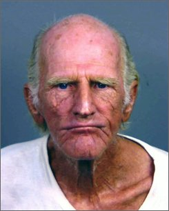 "This police booking photo provided by the Cathedral City Police Department shows one of ""America's Most Wanted"" fugitives, Robert Bowman, 72, in  Cathedral City, Calif. on Thursday Oct. 2, 2008.  Bowman was arrested Thursday in Cathedral City after two district attorney's investigators spotted him on a bicycle and believed he was wanted on an unrelated case. (AP Photo/Cathedral City Police Dept.)"