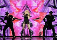 Madonna performs during a stop on her Sticky & Sweet tour Saturday, Oct. 4, 2008, in East Rutherford, N.J. (AP Photo/Mel Evans)