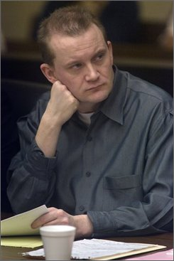 "Dale Hausner sits during his trial in the Maricopa County Superior Court Monday, Oct. 6, 2008. Hausner, one of two men arrested in the ""Serial Shooters"" case, has pleaded not guilty in eight killings and 20 other attacks that occurred during 2005 and 2006. (AP Photo/Pool, Mark Henle)"
