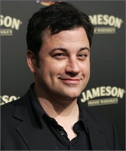 In an April 3, 2008 file photo Jimmy Kimmel poses on the press line at the Jimmy Kimmel Show 1000th Episode Party.     Kimmel is slated to host the American Music Awards  on Nov. 23, 2008.  (AP Photo/Dan Steinberg/file)