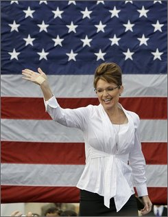 Republican vice-presidential candidate, Gov. Sarah Palin, waves to supporters before a campaign speech Monday morning Oct. 6, 2008 in Clearwater, Fla. (AP Photo/Chris O'Meara)