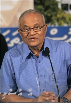 Maldives' President and Asia's longest serving ruler Mamoun Abdul Gayoom listens to a journalist during a press conference in Male, Maldives, Tuesday, Oct. 7, 2008. On Wednesday, Gayoom will face his first democratic election, challenged by a crowded field of opponents who say it is time for a change. (AP Photo/Eranga Jayawardena)