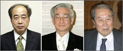 Two Japanese citizens, Makoto Kobayashi, left, and Toshihide Masukawa, center, and a Japanese-born American Yoichiro Nambu, shown in these undated photos, won the 2008 Nobel Prize in physics for discoveries in the world of subatomic physics, the Royal Swedish Academy of Sciences announced Tuesday, Oct. 7, 2008. American Nambu, 87, of the University of Chicago, won half of the prize for the discovery of a mechanism called spontaneous broken symmetry in subatomic physics. Kobayashi and Maskawa of Japan shared the other half of the prize for discovering the origin of the broken symmetry that predicts the existence of at least three families of quarks in nature. (AP Photo/Kyodo News)