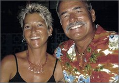 This undated image provided by Ryan Hawks shows Tom and Jackie Hawks. The couple were allegedly bound to the anchor of their yacht and tossed overboard four years ago. Opening statements in the case of former child actor Skylar Deleon, who is accused of killing the couple, are expected to begin Tuesday, Oct. 7, 2008.  (AP Photo/Courtesy Ryan Hawks)