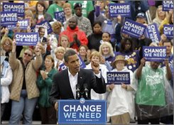 Democratic presidential candidate Sen. Barack Obama, D-Ill., campaigns in Indianapolis, Ind., Wednesday, Oct. 8, 2008. (AP Photo/Darron Cummings)
