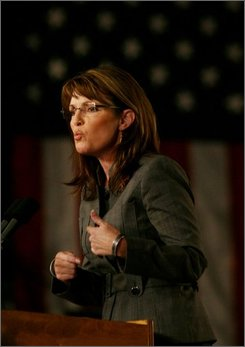 Republican vice presidential candidate, Alaska Gov. Sarah Palin, speaks to supporters at a rally near Wilmington, Ohio Thursday Oct. 9, 2008. (AP Photo/Tom Uhlman)