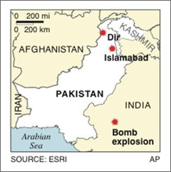 Map locates bomb explosions in Pakistan; 1c x 1 7/8 inches; 46.5 mm x 47.6 mm