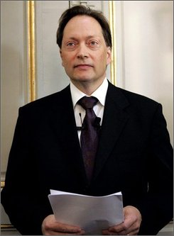 This is a  Oct.13, 2005 file photo of  the permanent secretary of the Swedish Academy, Horace Engdahl, about to announce the winner of the Nobel Prize 2005  Most years the big questions before the announcement of the Nobel Prize in literature are whether it will go to a man or woman, poet or novelist.  But before Thursday Oct. 9,  2008 award, the question on many minds is whether the winner will be an American. Speculation has soared after committee member and permanent secretary Horace Engdahl told The Associated Press last week that the United States is too insular and ignorant to challenge Europe as the center of the literary world.  (AP Photo / Henrik Montgomery, file)