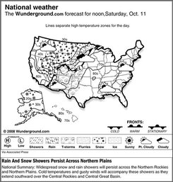 The forecast for noon, Friday, Oct. 10, 2008 shows a mixture of rain and snow showers will spread across the Northwest and Northern Plains as a system drops over the Great Basin. Meanwhile, a lingering front over the Southeast will cause storms and soggy conditions to persist across Florida.(AP Photo/Weather Underground)