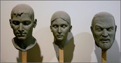 This Thursday, July 6, 2006 file photo shows busts that will eventually become part of a display on different races wait to be placed in the $25 million Creation Museum under construction near Petersburg, Ky., The Creation Museum, which teaches life's beginnings through a literal interpretation of the Bible, has become an unexpectedly strong draw for visitors. More than a half million people, organizers claim, have toured the Kentucky attraction since its May 2007 opening.   (AP Photo/Ed Reinke, file)