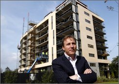 "Ray Grehan, property developer, is shown at his development called ""The Grange"" in Dublin, Ireland, on Sept. 26, 2008. Tens of thousands of Irish face a financial white-knuckle ride because Europe's longest-running winning streak, the vaunted Celtic Tiger economy, has come to an inglorious end. Last month, Ireland became the first country in the 15-nation euro zone to fall into recession. (AP Photo/Peter Morrison)"