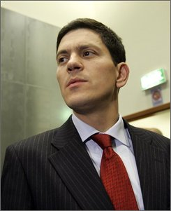 British Foreign Secretary David Miliband enters a meeting of EU foreign ministers in Luxembourg, Monday Oct. 13, 2008.  The EU's 27 foreign ministers are expected to hold talks with their Belarus counterpart Sergei Martynov on Monday. This would be the first high level contact since the EU put a ban on such meetings in 2004. (AP Photo/Virginia Mayo)