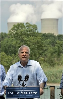 Republican presidential candidate, Sen. John McCain, R-Ariz., speaks to reporters after a tour of the Enrico Fermi Nuclear Plant Tuesday, Aug. 5, 2008, in Newport, Mich.  For years many mainstream scientists have been frustrated with the Bush administration, claiming that science has been censored, ignored and politicized on issues from global warming to stem cells to evolution. As they campaign both McCain and his Democratic rival Barack Obama promise to seek, not censor, government science advice and to restore the White House science adviser's office. (AP Photo/Mary Altaffer, File)