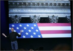 Apple CEO Steve Jobs talks about the New York Stock Exchange during a product announcement at Apple headquarters in Cupertino, Calif., Tuesday, Oct. 14, 2008. (AP Photo/Paul Sakuma)