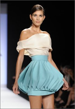 In this Sept. 12, 2008 file photo, the Project Runway collection of designer Leanne Marshall is modeled during Fashion Week in New York. (AP Photo/Richard Drew, file)