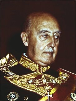This is an undated file photo of Generalissimo Francisco Franco of Spain.  A Spanish judge opened a criminal investigation Thursday, Oct. 16, 2008, into atrocities committed during the Spanish Civil War and ensuing right-wing dictatorship, launching the first official probe into one of the darkest chapters of the nation's history. Judge Baltasar Garzon of the National Court said in a 68-page writ that he has jurisdiction to probe the execution or disappearance of tens of thousands of civilians during the 1936-39 war and under the rule of Gen. Francisco Franco. An estimated 500,000 people died in the civil war and both sides committed atrocities against civilians