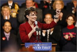 Republican vice presidential nominee, Alaska Gov. Sarah Palin, speaks at a campaign stop at the Bangor Airport, Thursday, Oct. 16, 2008, in Bangor, Maine. (AP Photo/Robert F. Bukaty)