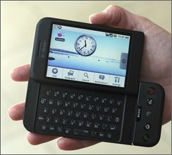 In this Sept. 23, 2008 file photo, the T-Mobile G1 Android-powered phone, the first cell phone with the operating system designed by Google Inc., is shown  in New York. (AP Photo/Mark Lennihan, file)