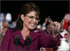 Republican vice presidential candidate, Alaska Gov. Sarah Palin, speaks at a campaign stop in Noblesville, Friday, Oct. 17, 2008.  (AP Photo/Michael Conroy)