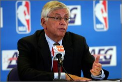  NBA Commissioner David Stern answers a question at a news conference, London, Sunday Oct. 12, 2008. The NBA and AEG announced today that they have formed a joint venture to design, market, program and operate multi purpose venues throughout Greater China. (AP Photo/Tom Hevezi)