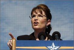 Republican vice presidential candidate, Alaska Gov. Sarah Palin, speaks during a rally in Elon, N.C., Oct. 16, 2008. (AP Photo/Sara D. Davis)