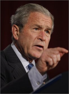 President Bush speaks about the economy at the U.S. Chamber of Commerce in Washington, Friday, Oct. 17, 2008. (AP Photo/Charles Dharapak)