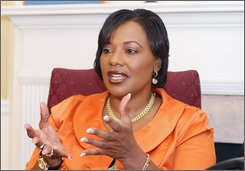 Rev. Bernice King, talks at a interview discussing the lawsuit between the King siblings in Atlanta Saturday Oct. 18, 2008. (AP Photo/W.A. Harewood)