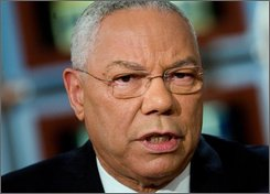 "Former Secretary of State Gen. Colin Powell speaks during a taping of ""Meet the Press"" at NBC Sunday Oct. 19, 2008, in Washington. Powell, a Republican who was President Bush's first secretary of state, endorsed Democrat Barack Obama for president Sunday, and criticized the tone of Republican John McCain's campaign. (AP Photo/Meet The Press, Brendan Smialowski)"