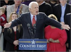 Republican presidential candidate Sen. John McCain, R-Ariz., speaks to supporters, Monday, Oct. 20, 2008, in St. Charles, Mo. (AP Photo/Jeff Roberson)