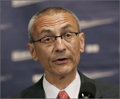 In this June 27, 2007 file photo, John Podesta speaks at the National Press Club in Washington. On Nov. 5, either Barack Obama or John McCain will abruptly pivot to a frenzied dash to Inauguration Day. The election winner must quickly put together a new government, set critical priorities and rework a federal budget flooded with red ink -- under the pressure of two wars and the worst financial crisis since the Great Depression. (AP Photo/Pablo Martinez Monsivais, File)
