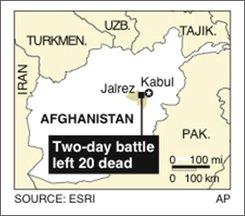 Map locates Jalrez district in Wardak, Afghanistan; 1c x 1 5/8 inches; 46.5 mm x 41.3 mm
