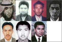 In this combo made from photos released on Tuesday, Oct 21, 2008 by China's Public Security Ministry showing 7 of the 8 Chinese nationals accused of plotting terror acts targeting the Beijing 2008 Olympic Games. From top left Memetiming Memeti, Emeti Yakuf, Memetituersun Yiming, Xiamisidingaihemaiti Abudumijiti and from bottom left Aikemilai Wumaierjiang, Yakuf Memeti, and Tuersun Toheti. Photo of the eighth accused Memetituersun Abuduhalike was not made available. Chinese police on Tuesday called for the arrest and extradition to China of the eight alleged Islamic terror group leaders and core members accused of targeting the Beijing Olympics. (AP Photo/China's Public Security Ministry, HO)