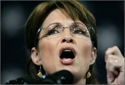 Republican vice presidential candidate, Alaska Gov. Sarah Palin gestures while speaking at the University of Findlay in Findlay, Ohio, Wednesday, Oct. 22, 2008   (AP Photo/Madalyn Ruggiero)